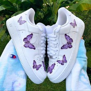 Nike Air Force 1 Custom Lavender Butterfly Sneaker
